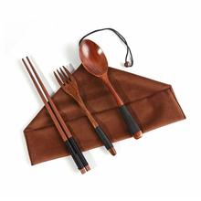 Набор из 4 предметов, японская деревянная ложка, палочки для еды, посуда с подарочным карманом, бамбуковая палочка для еды, портативные деревянные наборы столовых приборов, дорожный костюм