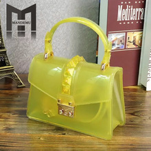 NEW Classic Style Girl Candy Solid Color Women Clear Pvc Leather Shoulder Bag Casual Tote Jelly Mini Crossbody Messenger Bag trendy zippers and candy color design women s tote bag