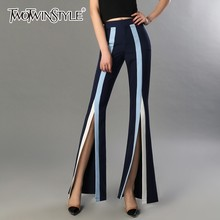 TWOTWINSTYLE Striped Trousers For Women High Waist Hit Color Split Flare Pants Female