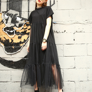 Image 3 - [Gutu] أزياء الصيف الجديدة 2017 حجم كبير أسود خياطة صافي الغزل جولة طوق قصير كم حجم كبير فضفاض ثوب المرأة 3361.5XL