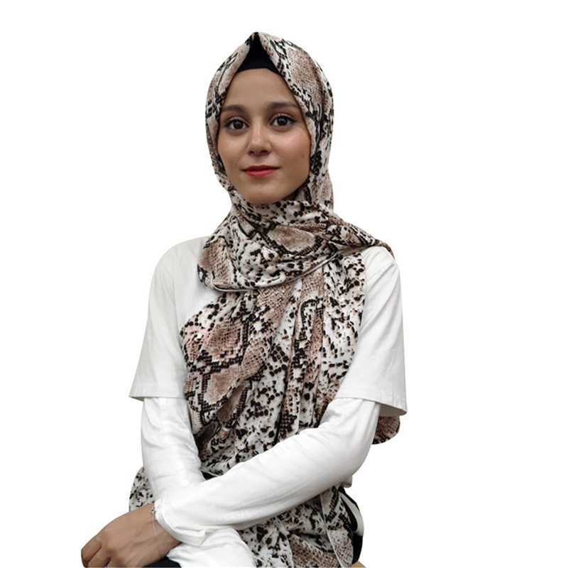 Muslim hijab Snake skin Polyester Shawl Scarf Print High Quality Autumn Winter Islamic Warp Long Shawl floral chiffon dress long sleeve
