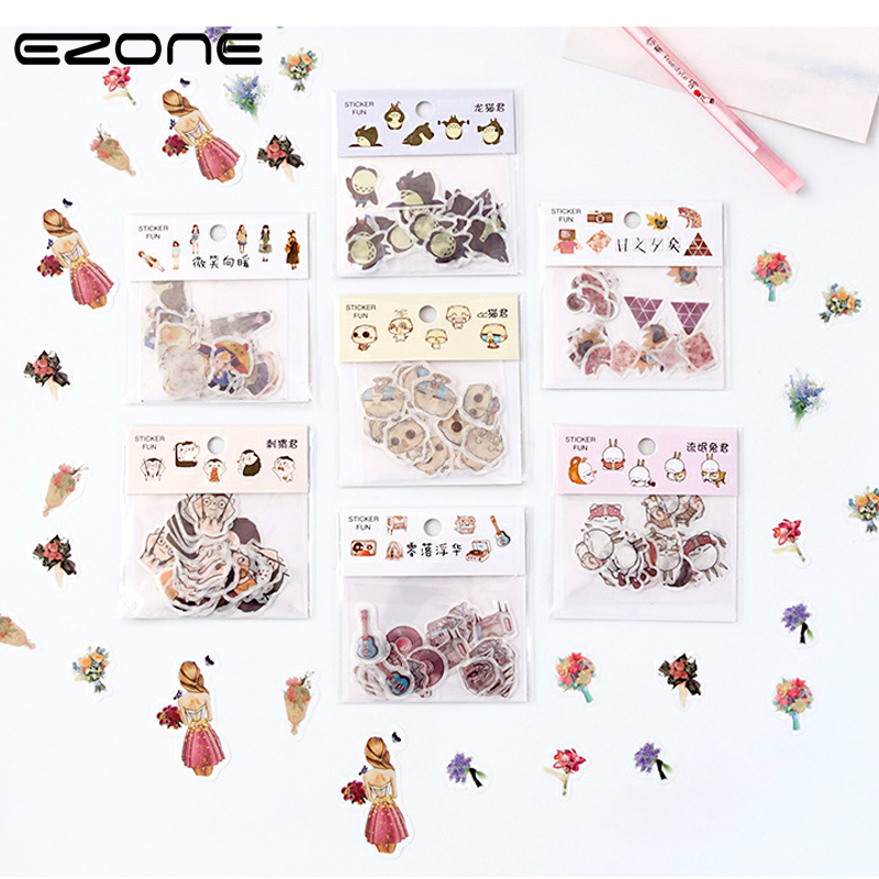 EZONE Hot Sale Stationery Sticker Cartoon Funny Cute Sticker Handbook Scrapbook Decor Sticker 32pcs/set Self-adhesive Sticker