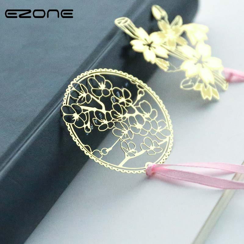 EZONE 1PC Metal Cherry Series Bookmarks Creative Retro Style Hollow Bookmarks Brass Student School Supply Style Random Delivery