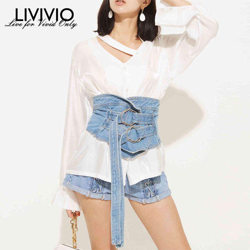 [LIVIVIO] Denim Corset Cummerbund Wide Belts For Women Waist Belt 2019 Summer New Fashion Accessories