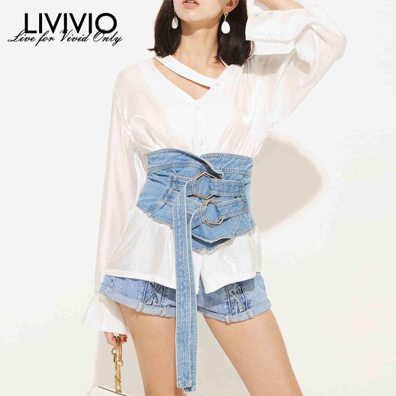 [LIVIVIO] Denim Corset Cummerbund Wide Belts For Women Waist Belt 2019 Summer New Fashion Accessories