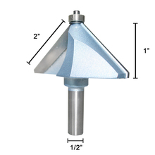 SHINA Chamfer Router Bits 45 Degree 1/2-Inch Shank 2-Inch Cutting Length About 1-Inch Height 2 Flutes