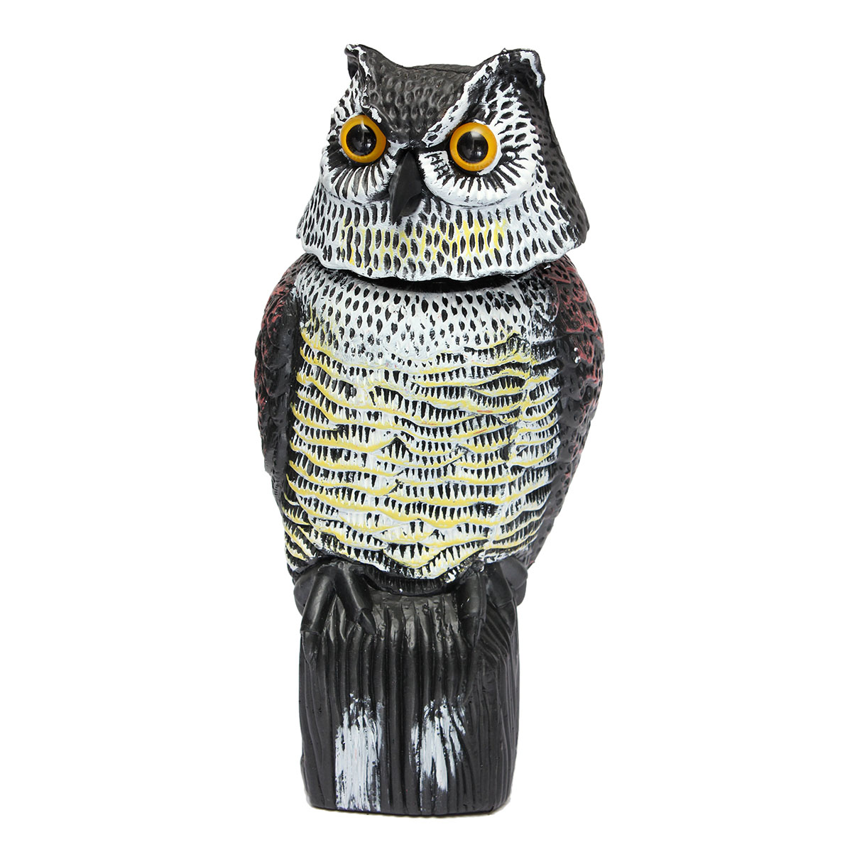 1PC Large Realistic Owl Decoy With Rotating Head Bird/Pigeon Crow Scarer Scarecrow Simulation Plastic Protects Garden