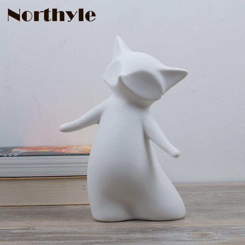 Us 2931 47 Offnorthyle śliczne Fox Ceramiczne Figurki Kawaii Miniaturowe Dla Akcesoria Do Dekoracji Domu Nowoczesne Vintage Craft Porcelany W