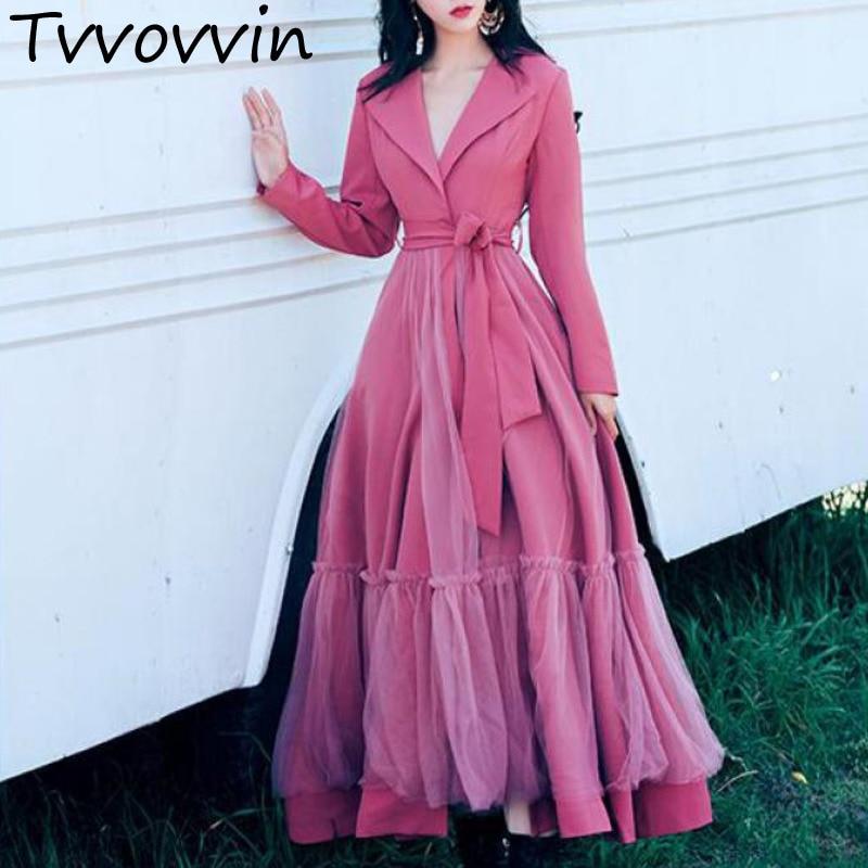 TVVOVVIN Women Coat Mesh Stitching Womens   Trench   Coats Sleeve Lace Up Long Windbreaker Elegant Female Overcoat 2019 E178