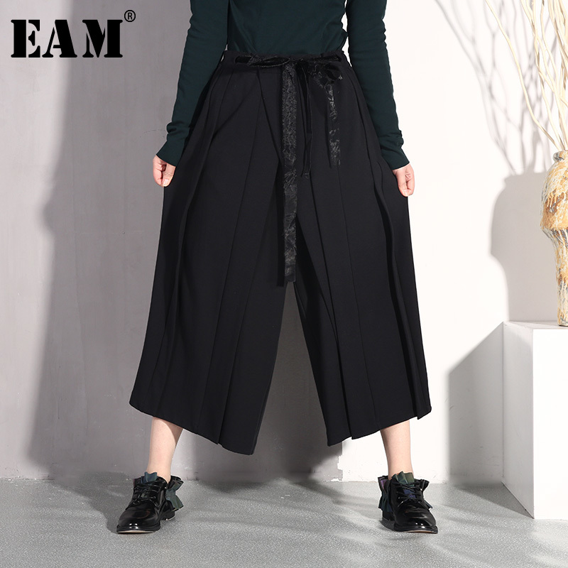 [EAM] 2019 New Spring Summer High Waist Black Pleated Bandage Loose   Wide     Leg     Pants   Women Trousers Fashion Tide JO579