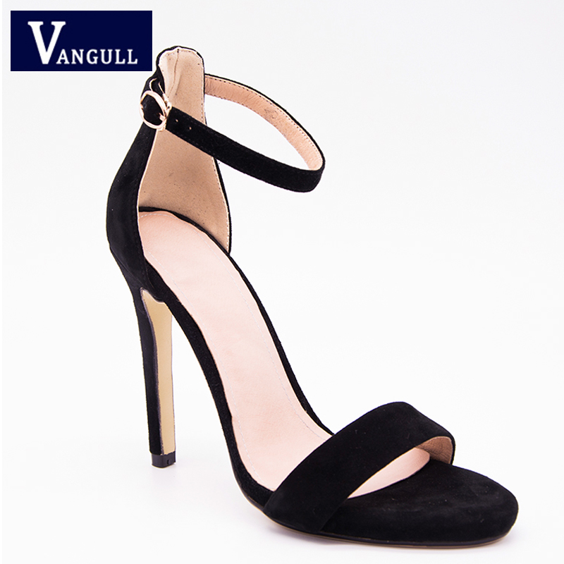 Female Sandals Heels Ankle-Strap Women's Shoes Fashion Kid Super Solid Career Buckle
