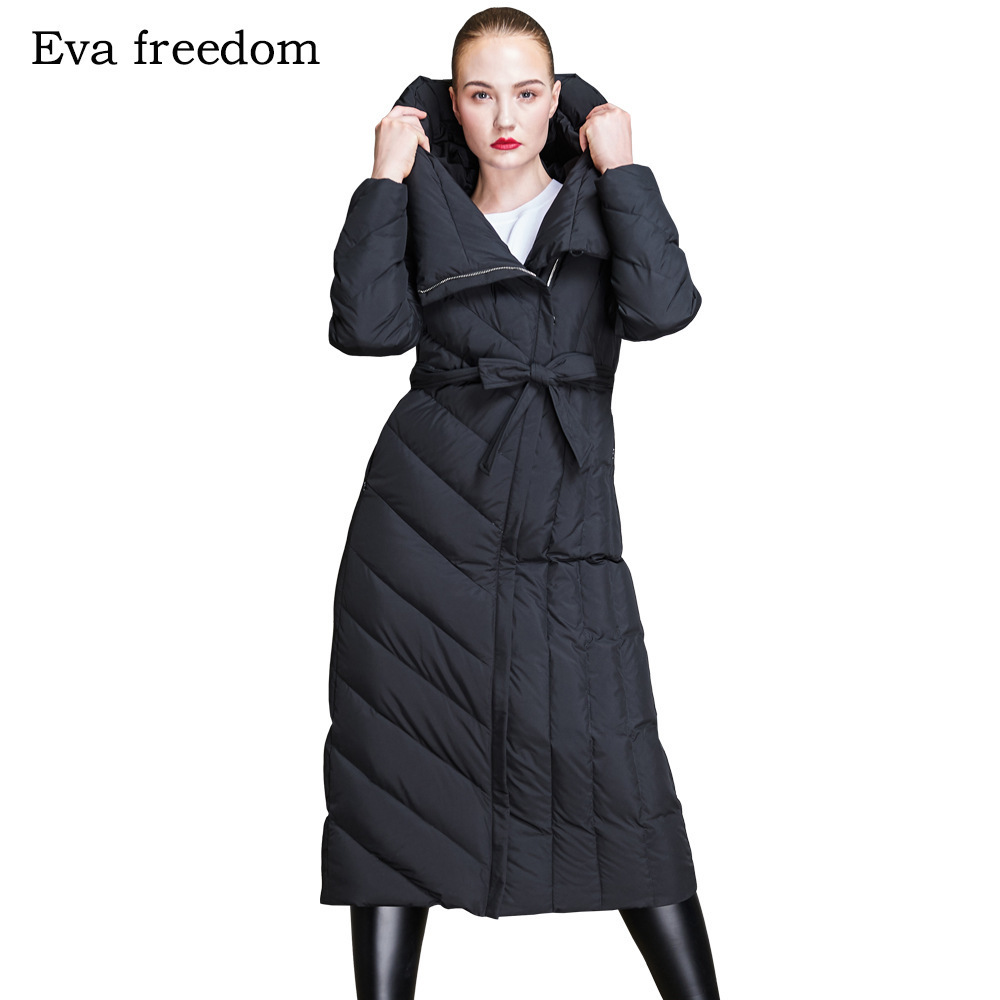2018 New stylish winter loose military   down     coat   women's fashion waisted slender design women's long   down   jackets EF18018
