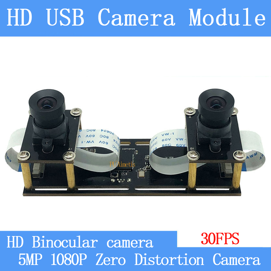 1080P Non Distortion Flexible Synchronization Stereo Webcam Dual Lens 30FPS USB Camera Module for 3D Video