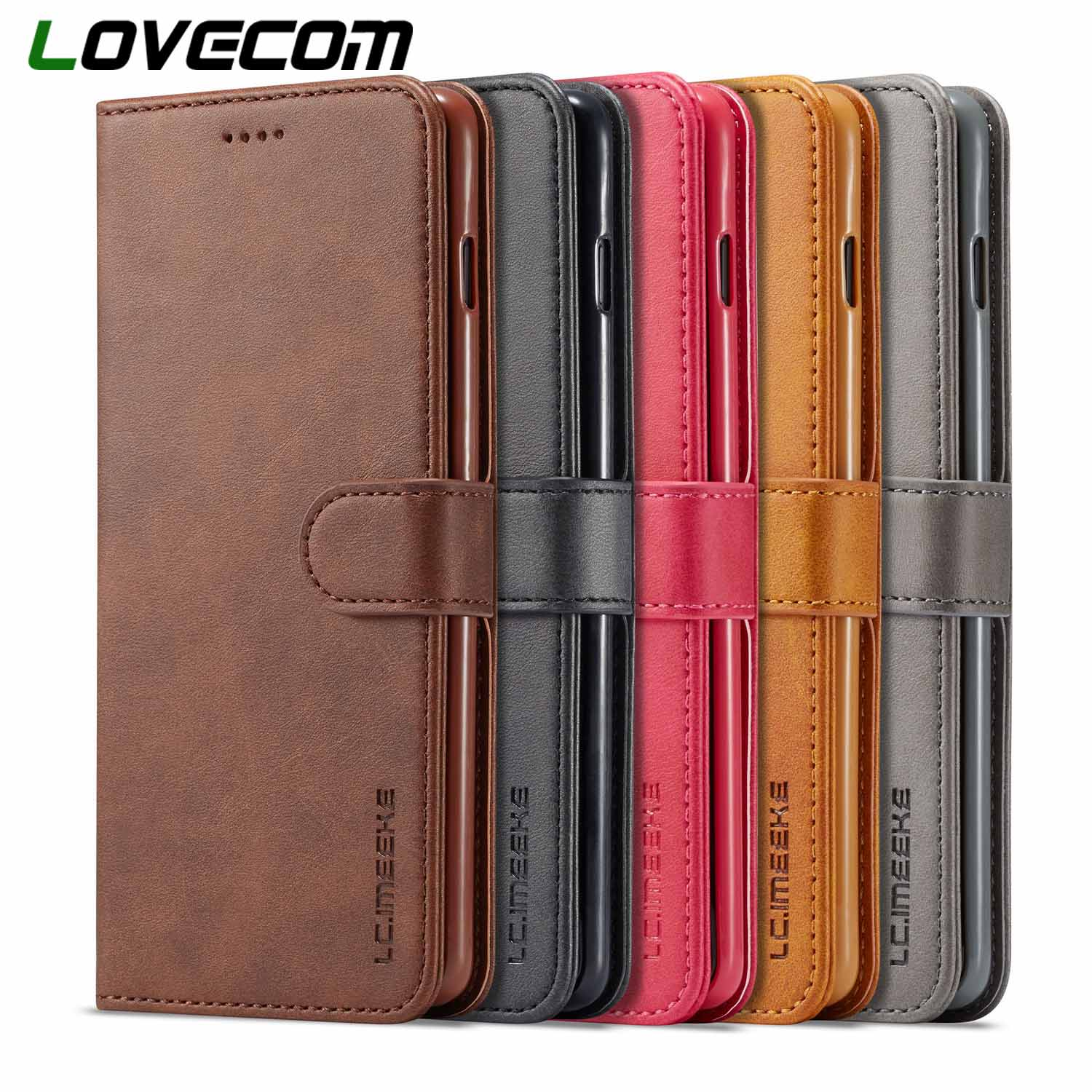 LOVECOM Vintage <font><b>Leather</b></font> Wallet <font><b>Flip</b></font> Phone <font><b>Cases</b></font> For <font><b>Samsung</b></font> Galaxy A10 A20 <font><b>A40</b></font> A50 A60 M30 S10 Plus S10e S9 Note 8 9 Back Cover image