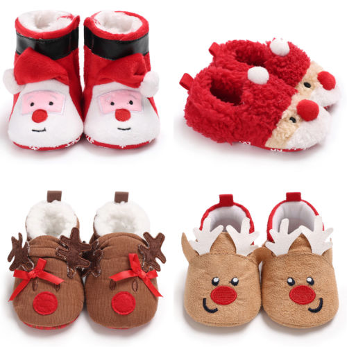 Pretty Cute Newborn Baby Boy Girl Kids Cartoon Deer Christmas Shoes Winter Warm Prewalkers Snow Boots Crib Shoes 0 To 12M