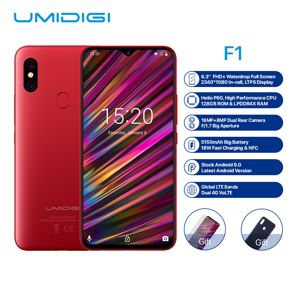 6.3 inch UMIDIGI F1 4G Smartphone Android 2.0GHz 9.0 Octa Core 4GB RAM 128GB ROM 16.0MP Front Camera 5150mAh Mobile Phone