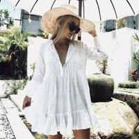 2019 新しい女性ホワイト長袖甘い休日フリルビキニカバーアップ水着水着夏ビーチルーズブラウスシャツドレス