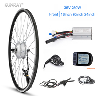 KUNRAY Elektrische Bike Conversion Kit 26 zoll Fahrrad Bürstenlosen Getriebe MTB Bike Motor 36 V 250 W Front Motor Rad kunteng LCD Display