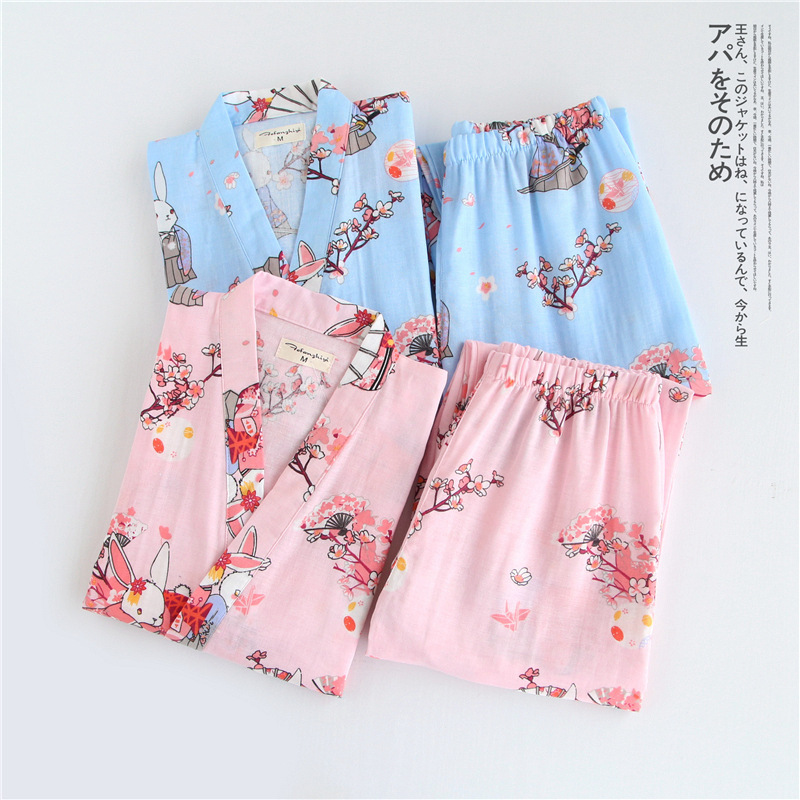 Japanese Cotton Gauze Kimono Pajamas Set Woman Bathrobe Summer Yukata NEW Printing Sleepwear Suit Japanese Traditional Clothing