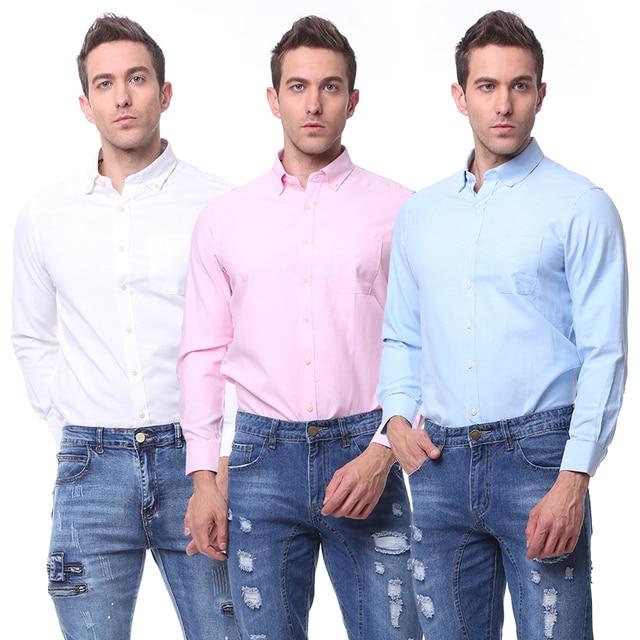 b94fa2f2b6c 2019 New Design Men Pure Color Oxford Shirt Business Formal Dress Shirts Long  Sleeve Big Size Cloth