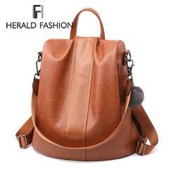 HERALD модный качественный кожаный Анти-Вор женский рюкзак большой емкости волосы мяч школьная сумка для подростков девочек мужские дорожные