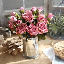 3 heads Artificial Flower Vivid Real Touch Roses Silk Bride Home Decor Wedding Flowers