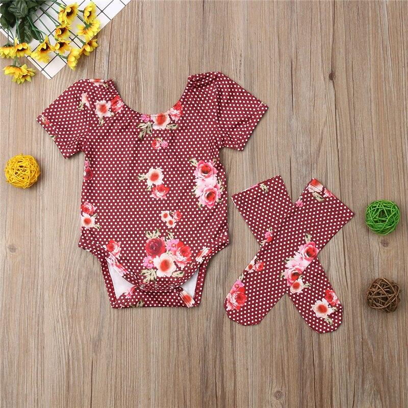 Прекрасный новорожденного Одежда для детей; малышей; девочек цветок один Pieces детские наряд с комбинезоном комплект чулок 2019 Новая одежда