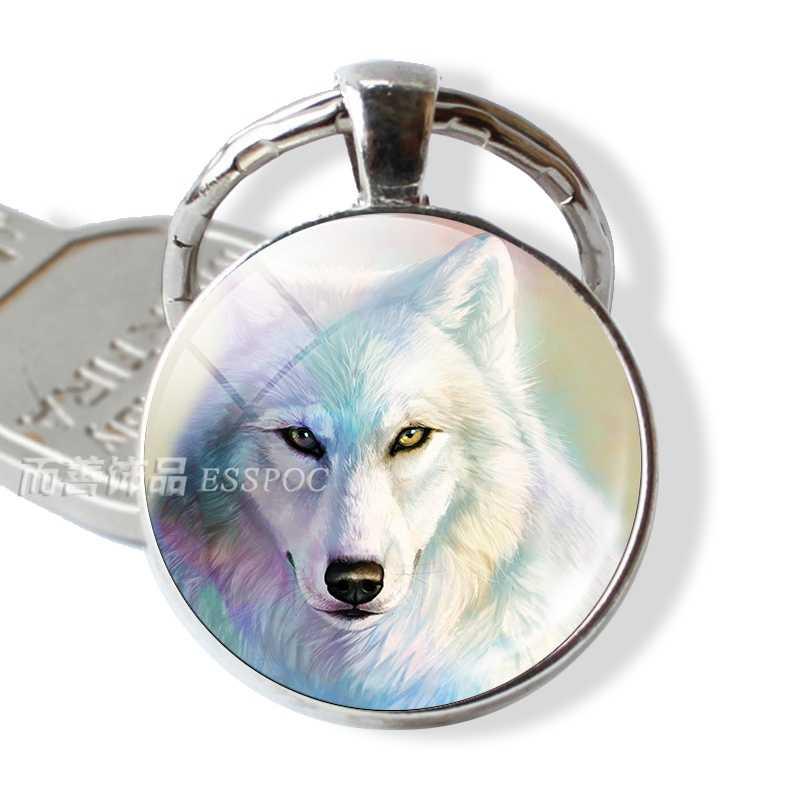 Serigala Putih Kaca Cabochon Gantungan Kunci Silver Serigala Kunci Jaringan Ring Agresif Serigala Perhiasan Fashion Aksesoris Liontin Wanita Pria Hadiah