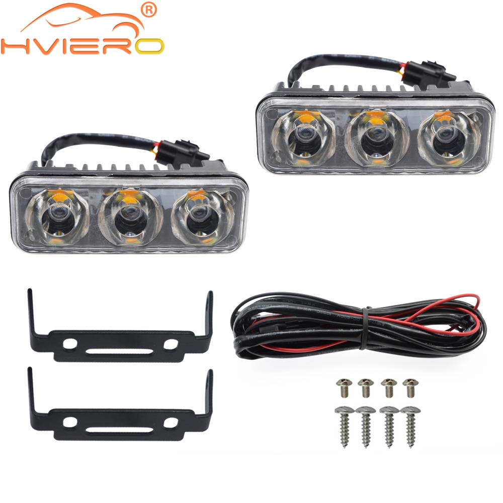 2X Auto Led Durable Car Daytime Running Light 3LED DRL Daylight White DC 12V Head Driving Lamp Parking Fog Turn Signal Lights