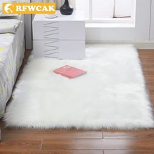 RFWCAK Rectangle Artificial Soft Sheepskin Hairy Mat Carpets For Living Room Bedroom Rug Seat Chair Cushion Home Decor Tapete