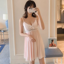 2019 Summer Women Nightgowns Sexy Lace Sleepwear Nightdress Princess Sleepshirts Modal Cotton Sleep Lounge Bowknot Nightwear