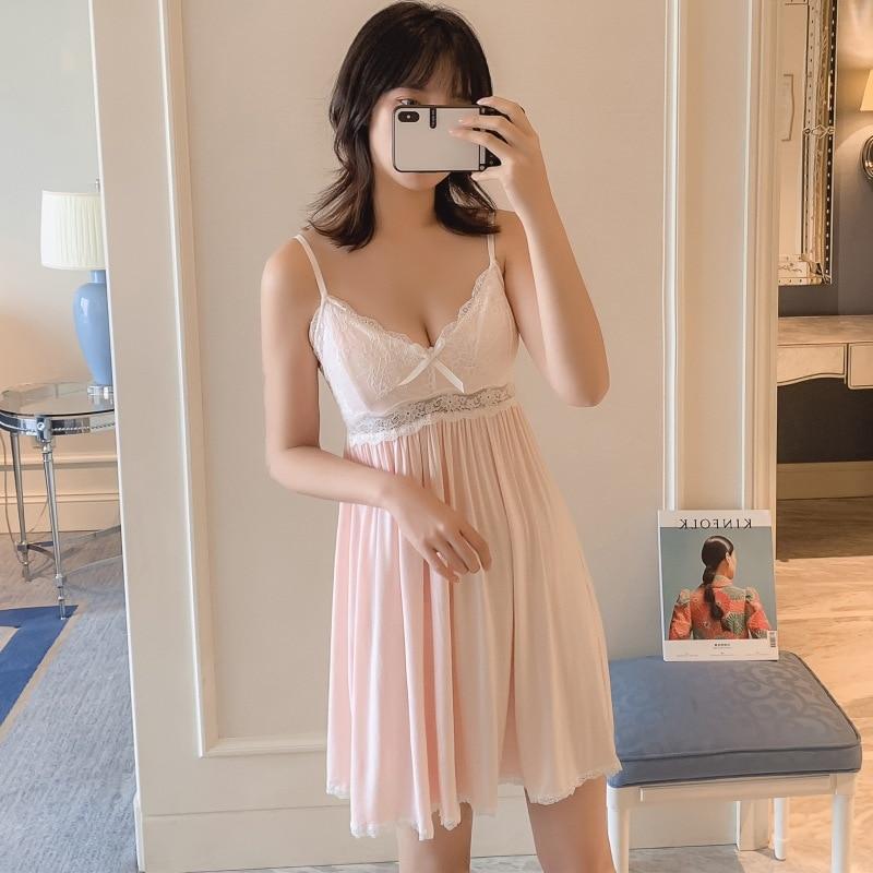 2019 Summer Women   Nightgowns   Sexy Lace Sleepwear Nightdress Princess   Sleepshirts   Modal Cotton Sleep Lounge Bowknot Nightwear