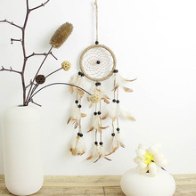 Original natural feather hand-woven yellow dream catcher American style pastoral fresh handicraft  pendant birthday gift