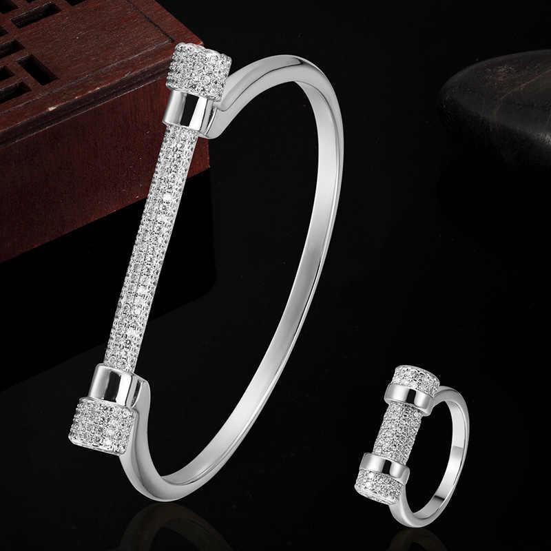 Blucome נשים צמיד צמיד טבעת תכשיטי סטי דובאי תכשיטי זירקון צמיד טבעות אנל Ouro Aneis Bijoux סטי Puseira