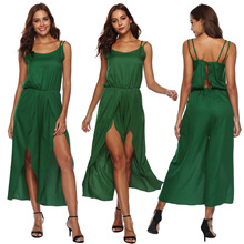 sleeveless green bodysuit  rave festival clothing sexy rompers women jumpsuit Sling High slit irregular waist bodysuits цена в Москве и Питере