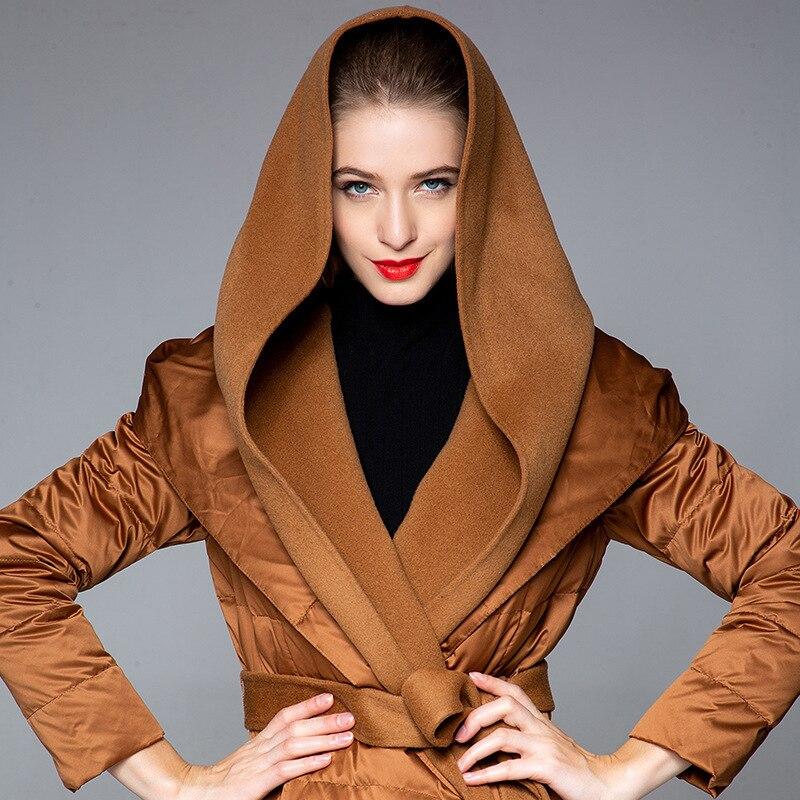 Winter slim down jacket woman hooded long white duck down jacket thickening ladies adjustable waist oversize down coat 20188004