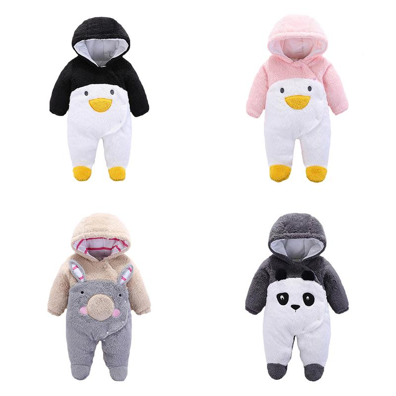 Baby Hooded Romper Cartoon Crawler Suit Baby Thickens Polyester Fiber Outdoor Jumpsuit Clothing Christmas Gifts