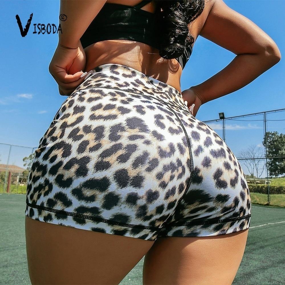 Women High Waist Fitness Short   Leggings   Leopard Printed Fashion Female Summer Push Up Spandex Pants Workout   Leggings   Plus Size