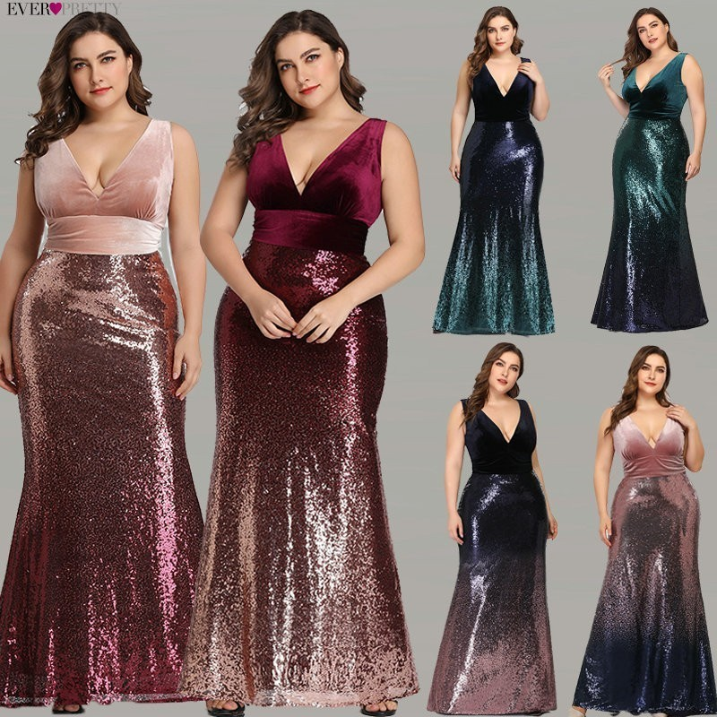 Blush Pink Mermaid Prom Dresses Ever Pretty EZ07767 Sexy V Neck Sleeveless Sequined Burgundy Long Party