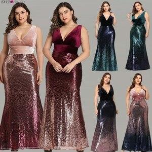 Image 2 - Blush rose sirène robes de bal Ever Pretty EZ07767 Sexy col en v sans manches paillettes bordeaux longues robes de soirée robes de bal 2020