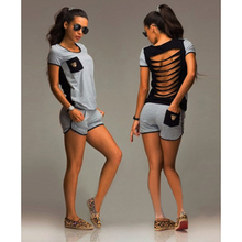 summer fashion leisure women t-shirt+shorts set back hollow short-sleeved casual top suit Short-sleeved blouse + shorts