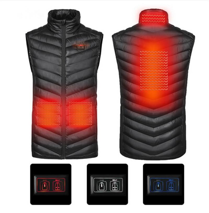 Upgraded Men Outdoor USB Infrared Heating Vest Jacket Winter Carbon Fiber Electric Thermal Clothing Waistcoat цена в Москве и Питере