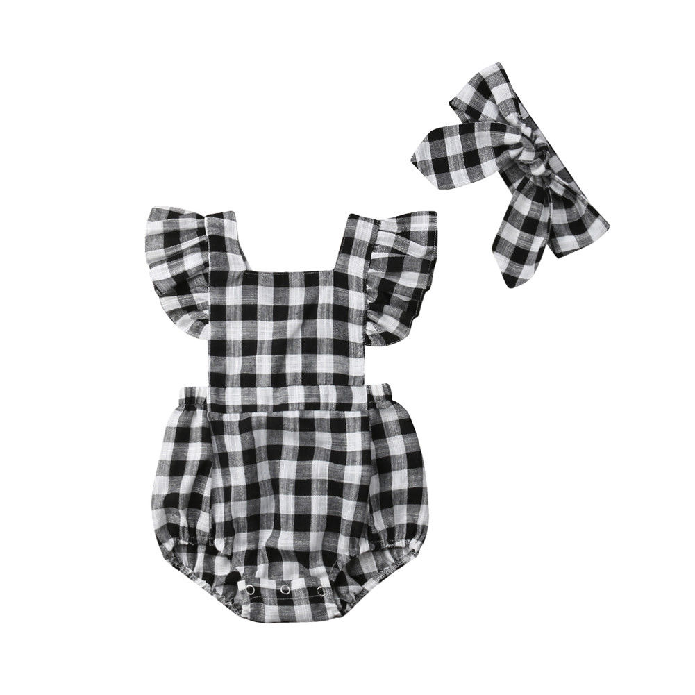 Infant Toddler Newborn Baby Girls Clothing Black White Plaid Ruffles Baby Girl   Romper   Summer Jumpsuit Baby Girls Costume