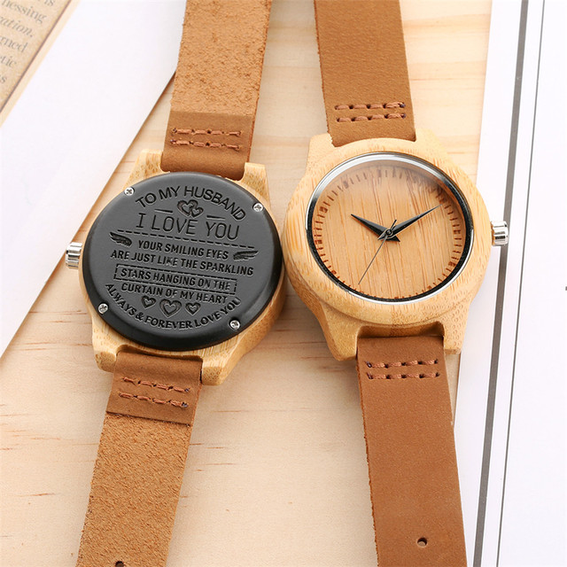 Unique Customized Engraved Wooden Watch Men's Quartz Wrist Watches Best Birthday Anniversary Gifts for Male reloj para hombre 3