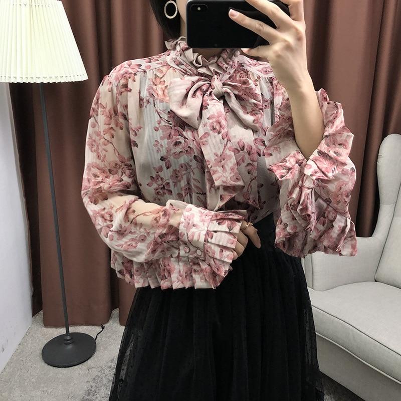 Mariposa Camisas Primavera Vintage 2019 Nuevo Impresión Las Seda Tamaño Collar Plus De Blusas Lazo Printed Volantes Verano Jc2680 Manga Mujeres Con 4WWUxra