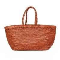 Тканые коровья кожа сумки для женщин большой емкости повседневные сумки ручной тканый узор женские сумки на плечо 2019 сумки для покупок
