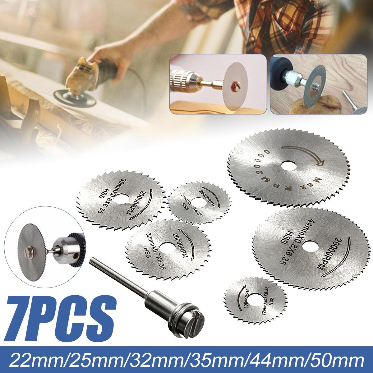 6Pcs HSS Circular Saw Blade + 1Pcs HSS Circular Rotary Blade Wheel Discs Mandrel For Wood Cutting Saws Tool Accessories Kit