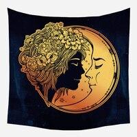 Loartee богиня луны свадебный цветок Бохо Декор гобелены колдовство индийский Ouija Tenture Фреска Мандала хиппи Wandkleed