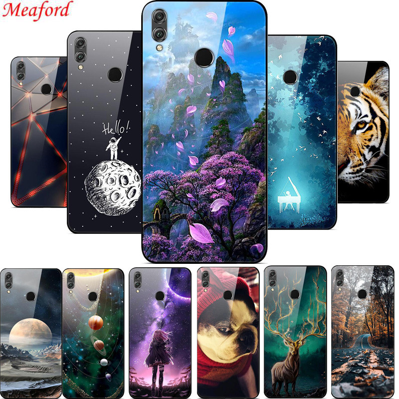 "Tempered Glass Case For Huawei Honor 8X Case 6.5"" Luxury Hard PC Back Cover For Huawei Honor 8X case 8 X TPU Frame Funda Coque"