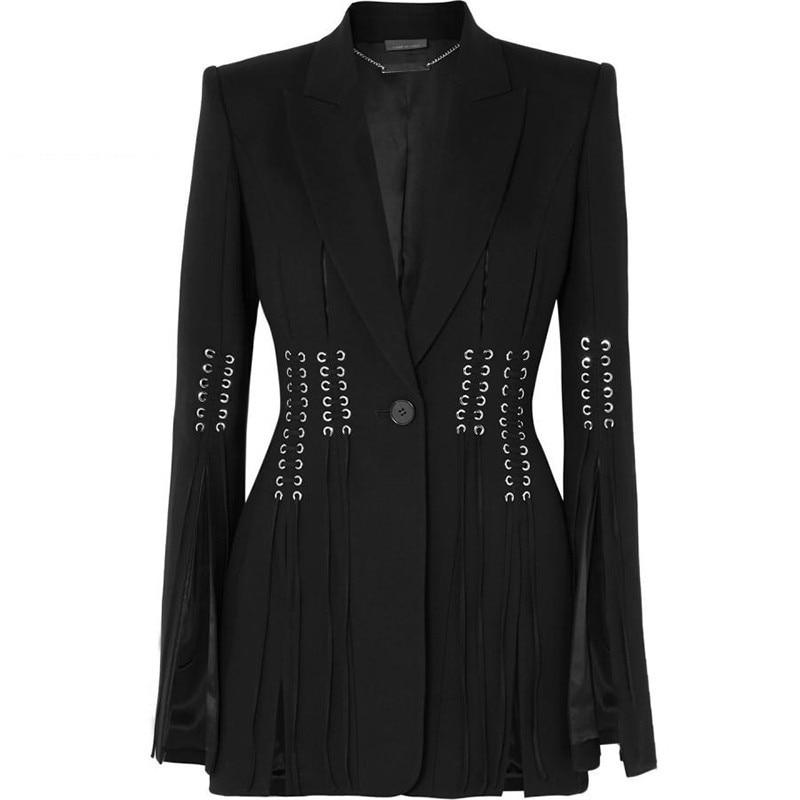TWOTWINSTYLE Spring Casual Women Blazer Lapel Long Sleeve Button Bandage Split Slim Black Female Coat 2019